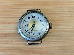 Vintage 15 Jewels Ladies Trench Watch in 0.925 Silver Case, Working
