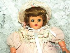 50's Vintage IDEAL Vinyl & Cloth Baby Doll PINK DRESS & BONNET 17'' DOLL