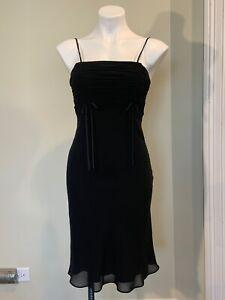 De Laru Evening Dress Black Spaghetti Straps Size7/8 Prom Wedding Formal
