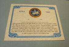 Nov 11 1982 Space Shuttle Columbia 5th Mission STS-5 Witness Certificate 8x10