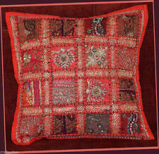 HAND CRAFTED ANTIQUE DRESS PATCH WORK RED PILLOW/CUSHION COVER FROM INDIA!!