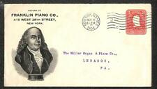 USA SCOTT U385 STATIONERY NEW YORK FRANKLIN PIANO CO. ADVERTISING COVER 1904