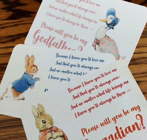 WILL YOU BE My Godmother | Godfather Christening request/invite cards + envelope