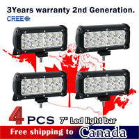 4Pcs 7inch CREE LED Light Bar Work for Off road Truck Boat Jeep Ford ATV SUV 4WD
