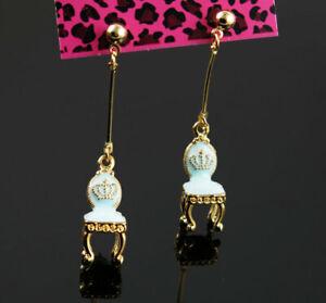 New Betsey Johnson chair Golden Ball Ear Stud Dangle Long Drop Earrings