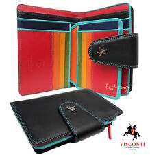 Visconti Purse Soft Leather Black Multicolour Trifold Gift Boxed Quality SP31