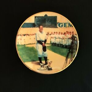 """Lou Gehrig Yankees 1995 Delphi 'Luckiest Man' Limited Edition Mini Plate 3.5"""" MT"""