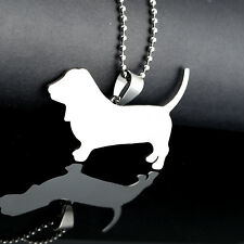 Stainless Steel Basset Hound Hush Puppy Pet Dog Collar Charm Pendant + Necklace
