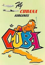 L'ARTE Annuncio VOLO Cubana AIRLINES a Cuba Viaggio POSTER stampati