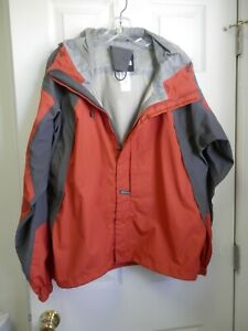 SZ M The North Face Hyvent Tri-Climate Jacket Hooded BURNT ORANGE / GRAY