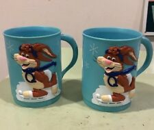 Two Vintage Nestle Quik blue Plastic Ice Skating Rabbit Bunny Mugs