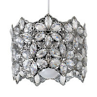 Modern Chrome Easy Fit Ceiling Pendant Light Shade Floral Clear Acrylic Jewels
