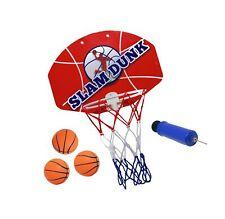 Slam Dunk Mini Basketball Hoop Set - Over The Door Plastic Toy Backboard 14 X.
