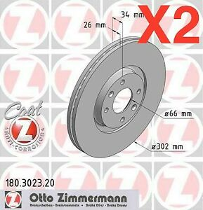 Zimmermann Front Brake Discs 302mm Citroen C4/Grand Picasso Peugeot 307 4246.C0