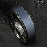 Black Tungsten Carbide Ring Sea Blue Brushed Center Bridal Band ATOP Men Jewelry