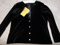 Denim Co QVC black Stretch Velvet M top NWT NEW Button Long Sleeve Shirt cardign
