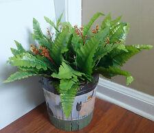 Artificial Plants Silk Fern Leaf 2 Blooming Boston Grass Bushes