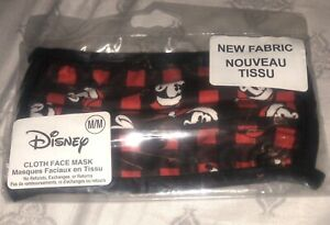 Disney Mickey Mouse Red Plaid Santa Hat Cloth Face Mask Size Med Kids  Lot of 3
