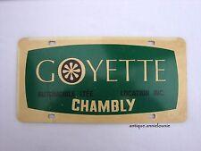 GOYETTE AUTOMOBILE Plastic Vanity Vintage License Plate