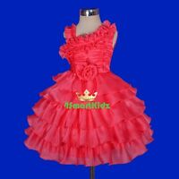 Pearl Organza Tiered Formal Dress Wedding Flower Girl Party Kid Size 2-5 FG239