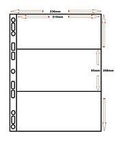 50 x 3 POCKET POLYPROPYLENE A4 SLEEVES FOR BANKNOTE / OPEN STAMP BOOKLET