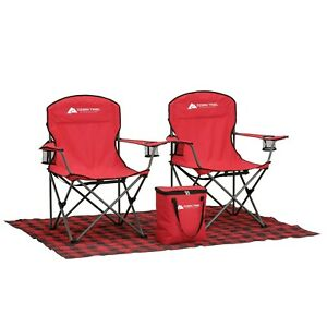 Ozark Trail Mini Tailgate Combo with Footprint, Cooler, and Chairs, Red