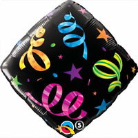 "STREAMER PATTERN DIAMOND FOIL BALLOON 18"" QUALATEX FOIL BALLOON"