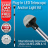 Telescopic Boat Navigation Light 12 Volt LED Plug In Stern All Round White Lamp