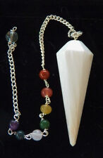 RARE HAND CARVED SELENITE CRYSTAL DOWSING PENDULUM WITH CHAKRA CHAIN AND POUCH