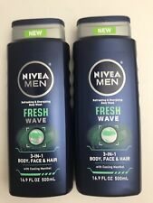 2 Nivea Men 3in1 Body Wash With Cooling Menthol 16.9 Oz