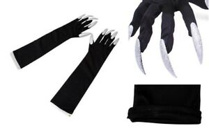 Black Elbow Satin Gloves with Shiny Glitter Nails Cosplay Claw Gloves
