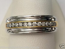 Two Tone White and Yellow Gold Mens Wedding Anniversary Diamonds Ring Band SALE