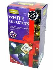 100 LED White Christmas Xmas Tree Indoor and Outdoor Fairy Lights Mains