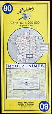 MICHELIN FRANCE 1970 COLOURED PAPER MAP of RODEZ-NIMES No 80 1:200 000