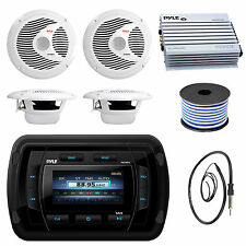 """Pyle USB Boat Bluetooth Radio,6.5"""" 150W Speakers and Wire,Antenna,400W Amplifier"""