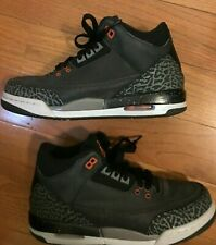 Nike Air Jordan III Athletic Shoes Running Black Gray Orange Boys Size 5.5Y US