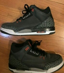 Nike Air Jordan III Athletic Shoes Running Black Gray Orange Boys Size 5.5Y US