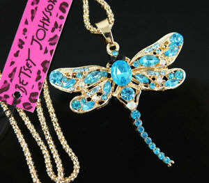 New Betsey Johnson Blue Crystal Cute Dragonfly Pendant Necklace Sweater Chain