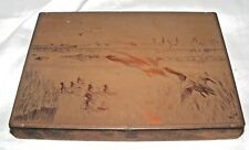VINTAGE COPPER PRINTING PLATE PRESS DUCKS / GEESE SIGNED GILLETT?