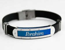 IBRAHIM - Mens Silicone & Blue Name Plate Engraved Bracelet - Gifts For Him