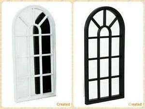 Arched Wall Mirror Glass Panel Window Style Shabby Vintage Hallway Home Decor