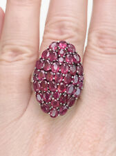 Ruby Cluster Statement Ring, Size P, Sterling Silver