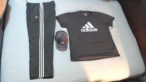 Adidas XL Brown/White Track Pants -- 3XL Brown/White T-Shirt -- Brown/White Hat