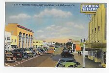 Hollywood Boulevard Florida Business Section Linen Vintage Cars Postcard