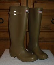 Original HUNTER Olive Green Tall Pull On Rubber Rain Boots England Made W6-M5
