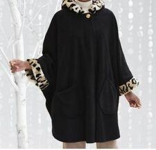 Women's winter fall spring washable black hooded faux fur fleece cape one size