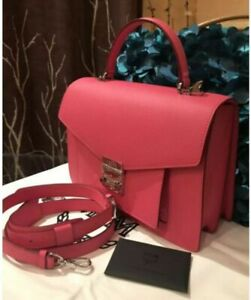 Stunning!* MCM Patricia Visetos Block Leather Satchel Crossbody Bag In Pink NWT