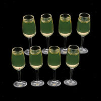 8 lot 1/12 Scale Miniature Plastic Cup Wine Glasses Drink Set Dollhouse Accs