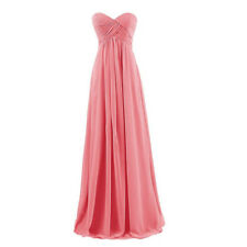 Strapless Long Chiffon Bridesmaid Formal Gown Party Cocktail Evening Prom Dress