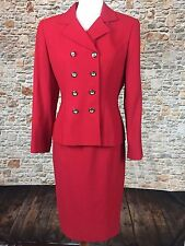 VINTAGE KASPER A.S.L. Women's Red Lined Blazer Skirt Suit Sz 8P Double Breasted